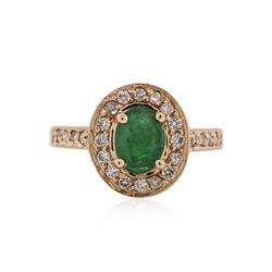 14KT Rose Gold 1.12 ctw Emerald and Diamond Ring