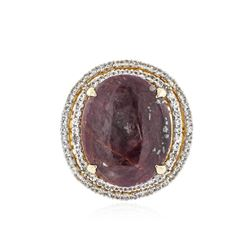 SILVER 17.00 ctw Ruby and White Sapphire Ring