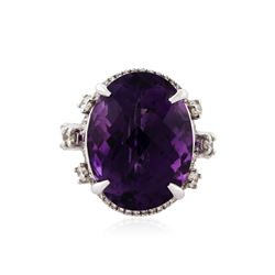 14KT White Gold 17.85 ctw Amethyst and Diamond Ring