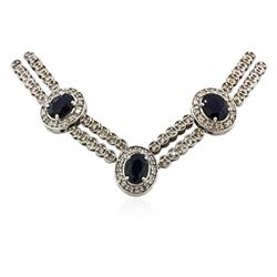 14KT White Gold 15.64 ctw Sapphire and Diamond Necklace