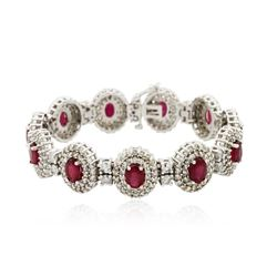14KT White Gold 10.89 ctw Ruby and Diamond Bracelet