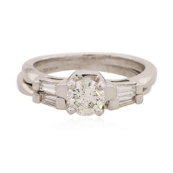 Platinum 0.84 ctw Diamond Ring Wedding Set