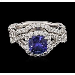 14KT White Gold 1.41 ctw Tanzanite and Diamond Wedding Ring Set