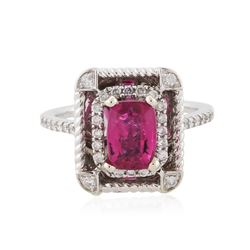 14KT White Gold 1.53 ctw Tourmaline and Diamond Ring