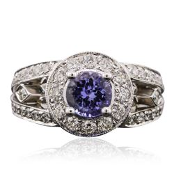 14KT White Gold 1.10 ctw Tanzanite and Diamond Ring