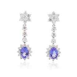 14KT White Gold 3.18 ctw Tanzanite and Diamond Earrings