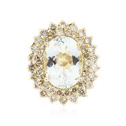14KT Yellow Gold 6.11 ctw Aquamarine and Diamond Ring