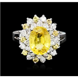 14KT White Gold GIA Certified 3.35 ctw Yellow Sapphire and Diamond Ring