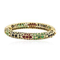 14KT Yellow Gold 12.60 ctw Multi Gemstone Bangle Bracelet