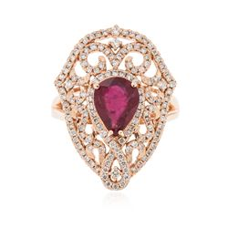 14KT Rose Gold 1.78 ctw Ruby and Diamond Ring