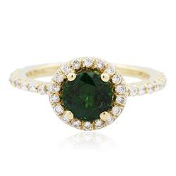 14KT Yellow Gold 1.36 ctw Garnet and Diamond Ring