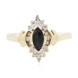 10KT Two-Tone Gold 0.35 ctw Sapphire and Diamond Ring
