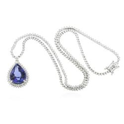 14KT White Gold 11.55 ctw GIA Certified Tanzanite and Diamond Necklace