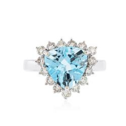 14KT White Gold 4.19 ctw Blue Topaz and Diamond Ring