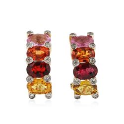 14KT Yellow Gold 4.32 ctw Multicolor Sapphire and Diamond Earrings