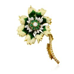 18KT Two-Tone Gold 1.06 ctw Emerald and Diamond Flower Brooch