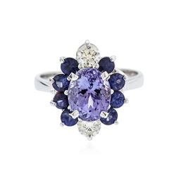 14KT White Gold 1.90 ctw Tanzanite, Sapphire and Diamond Ring