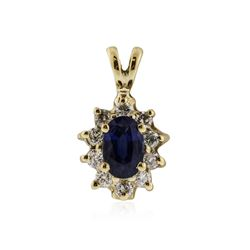 14KT Yellow Gold 0.70 ctw Sapphire and Diamond Pendant