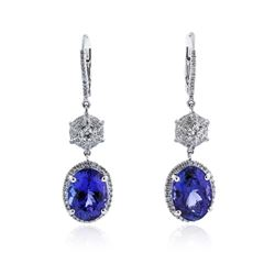 18KT White Gold 8.84 ctw Tanzanite and Diamond Earrings