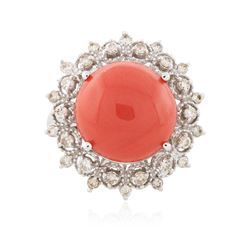 14KT White Gold 7.25 ctw Coral and Diamond Ring