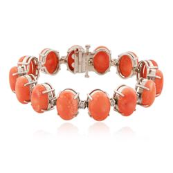 14KT White Gold 64.92 ctw Coral and Diamond Bracelet
