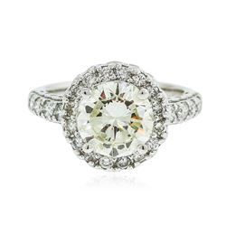 14KT White Gold 2.22 ctw SI-1/Light Yellow Diamond Ring