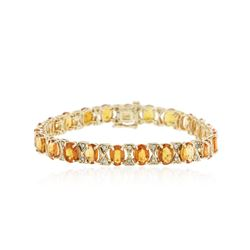 14KT Yellow Gold 17.02 ctw Orange Sapphire and Diamond Bracelet