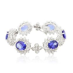 14KT White Gold 20.94 ctw Tanzanite and Diamond Bracelet