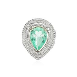 14KT White Gold GIA Certified 5.65 ctw Emerald and Diamond Ring