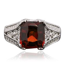 14KT White Gold 3.50 ctw Garnet and Diamond Ring