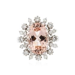 14KT White Gold 5.20 ctw Morganite and Diamond Ring
