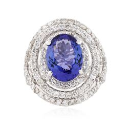 14KT White Gold 4.67 ctw Tanzanite and Diamond Ring