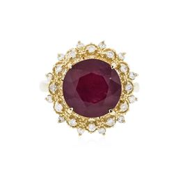14KT Yellow Gold 6.86 ctw Ruby and Diamond Ring