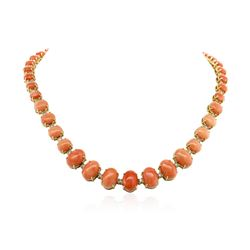 14KT Yellow Gold 75.33 ctw Coral and Diamond Necklace
