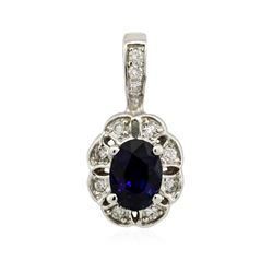 14KT White Gold 1.09 ctw Sapphire and Diamond Pendant