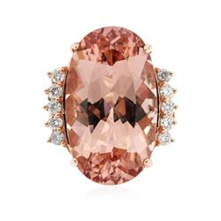 14KT Rose Gold 23.97 ctw GIA Certified Morganite and Diamond Ring