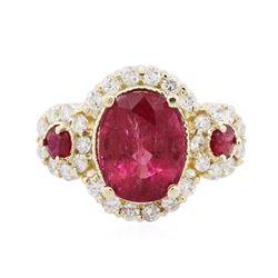 14KT Yellow Gold 3.30 ctw Rubellite, Ruby and Diamond Ring