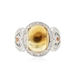 14KT White Gold 5.60 ctw Citrine, Sapphire and Diamond Ring