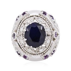 14KT White Gold 9.01 ctw Sapphire and Diamond Ring