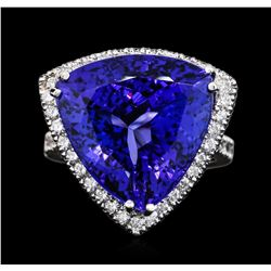 14KT White Gold GIA Certified 22.37 ctw Tanzanite and Diamond Ring