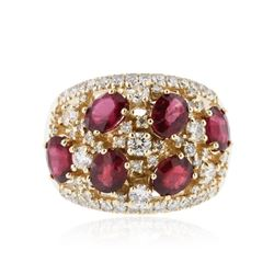 14KT Yellow Gold 3.36 ctw Ruby and Diamond Ring
