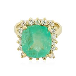 14KT Yellow Gold GIA Certified 6.70 ctw Emerald and Diamond Ring