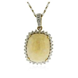 14KT Yellow Gold 9.21 ctw Opal and Diamond Pendant With Chain