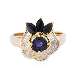 14KT Yellow Gold 1.00 ctw Sapphire and Diamond Ring