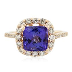 14KT Rose Gold 2.16 ctw Tanzanite and Diamond Ring