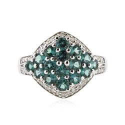 14KT White Gold 1.81 ctw Alexandrite and Diamond Ring