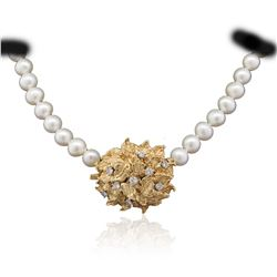 14KT Yellow Gold 0.51 ctw Diamond and Pearl Necklace