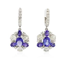 14KT White Gold 6.74 ctw Tanzanite and Diamond Earrings