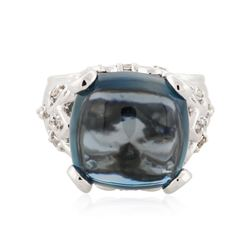 14KT White Gold 14.69 ctw Topaz and Diamond Ring