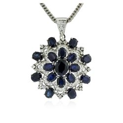 14KT White Gold 32.34 ctw Sapphire & Diamond Pendant with Chain